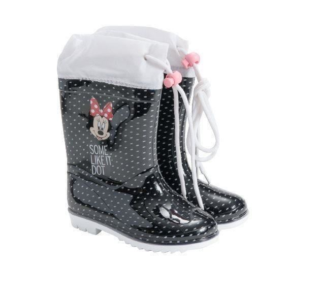Disney Minnie Mouse Black /& Red Rain Girls Boots With Shoelaces Eu Size