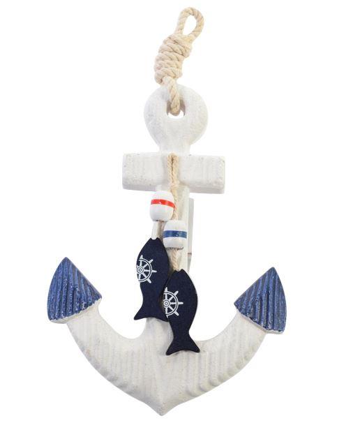 Wood Nautical Anchor Wall Hanging Hook Life Buoy Fish Hanger Home Decor 7290025688854 Ebay