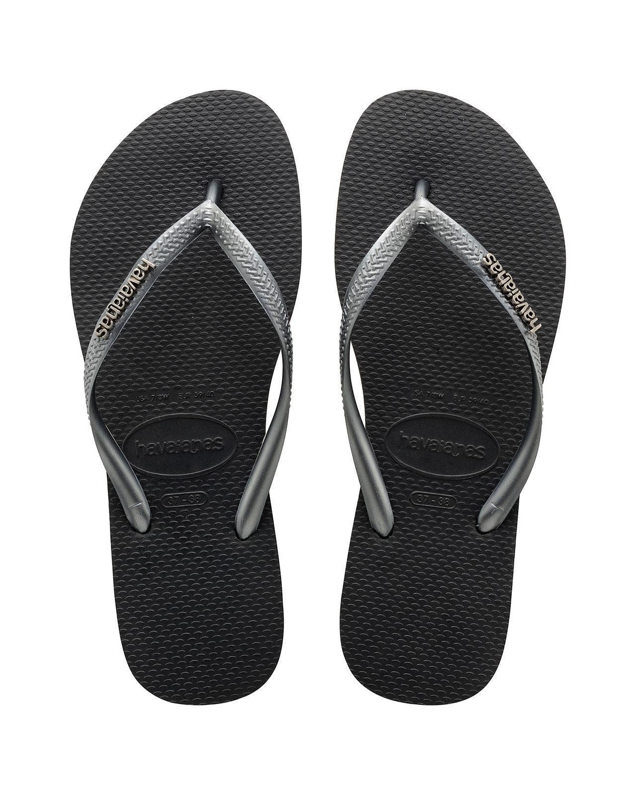 Havaianas-Slim-Logo-Top-Women-Flip-Flops-Sandals-Vary-Colors-All-Size