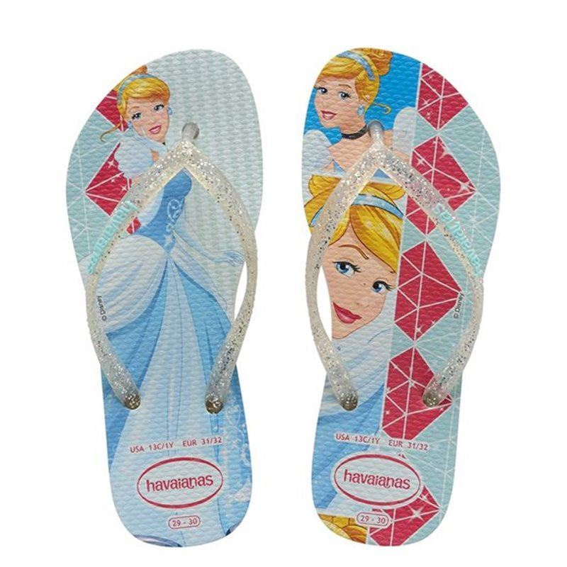 bfd3749f3dcf Details about Havaianas Slim Kids Girl Princess Cinderella Rubber Flip Flops  All Sizes