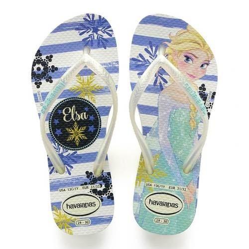 20c7e563e7a2 Details about Havaianas Slim Kids Girl Princess Frozen Rubber Flip Flops  All Sizes