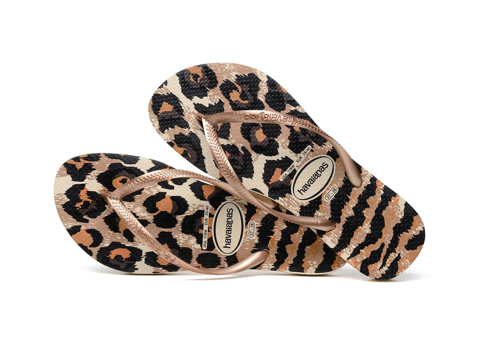 37edb5a0fb99a7 Havaianas Slim Animal Print Flip Flops Sandals Blue Gold Pink Rose All Sizes