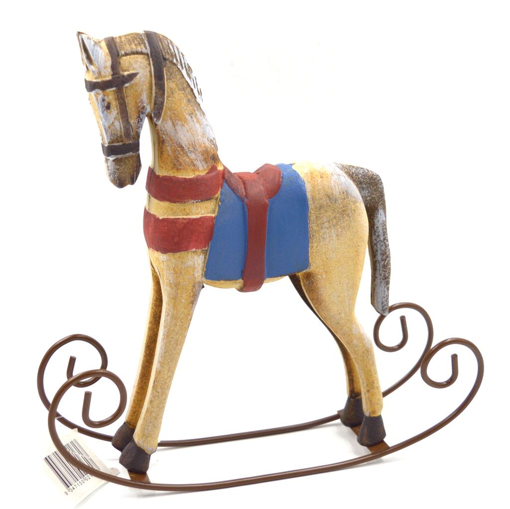 Wood Rocking Horse with Metal Saddle and Rockers Handcrafted Ornament NEW!