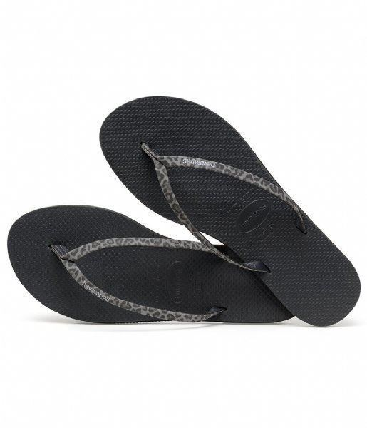 4db1dcfdbfed Havaianas You Animals Print Black Sand Grey Women Flip Flops Sandals ...
