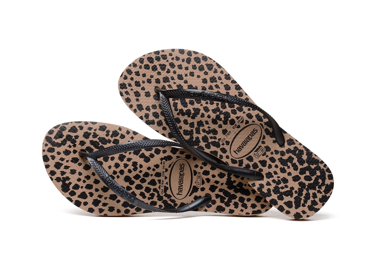 c20a3dd8394ed5 Havaianas Slim Animal Print Flip Flops Sandals Blue Gold Pink Rose All Sizes