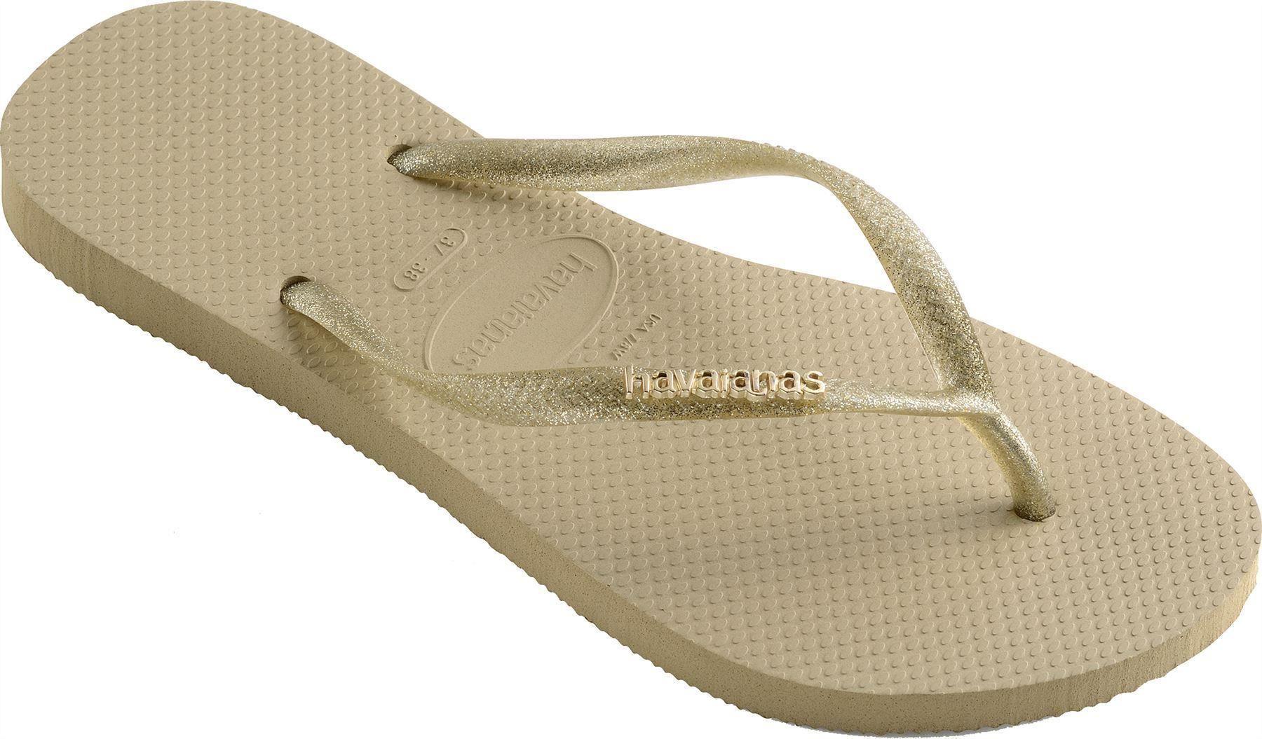 c8d8f35ea Havaianas Women Slim Logo Metal Sand Grey Light Golden Flip Flops