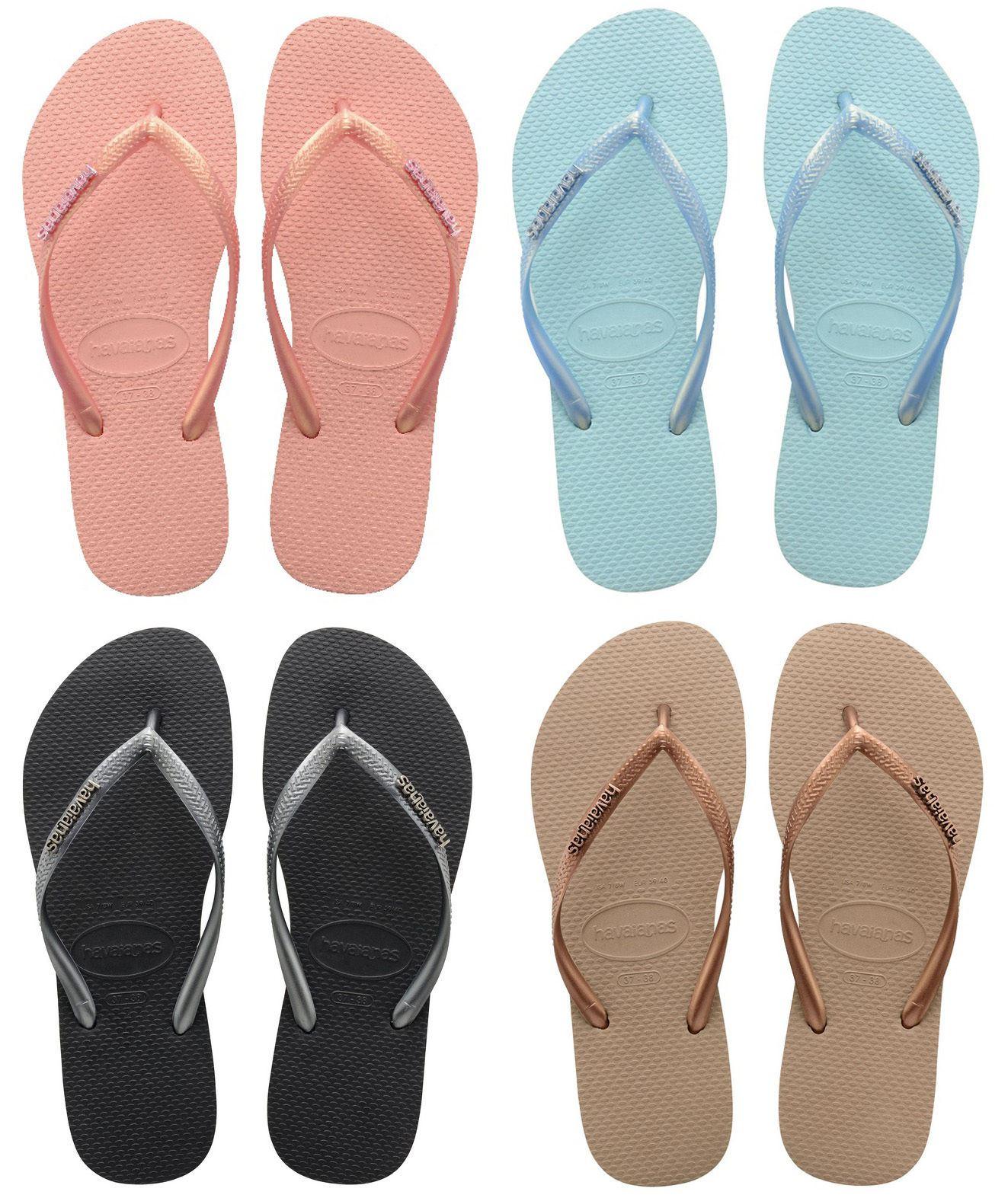 785e48aecffa Havaianas Brazil Women Flip Flops Vary Colors Slim Metallic Logo Sandal All  Size
