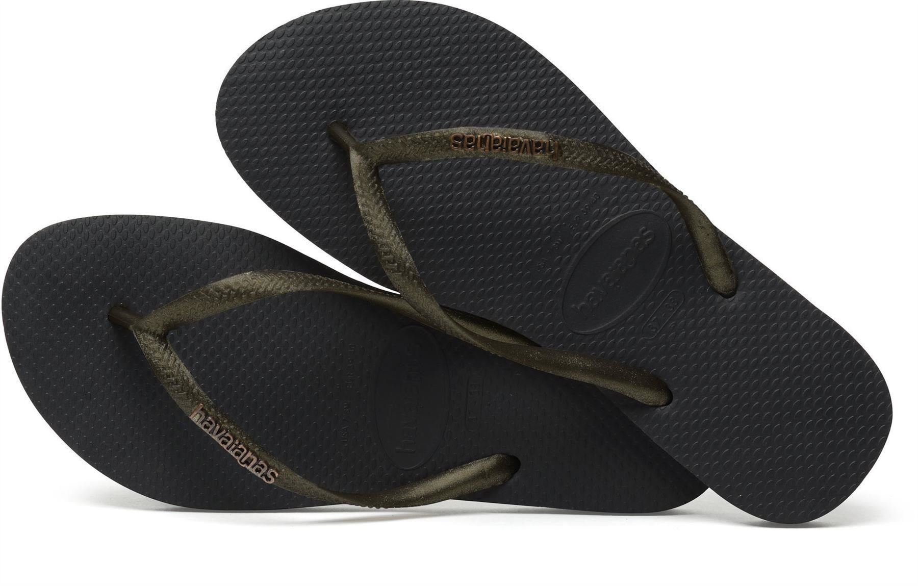 f480dde66 Havaianas Women`s Flip Flops Slim Logo Black Gold Sandals Any Size ...