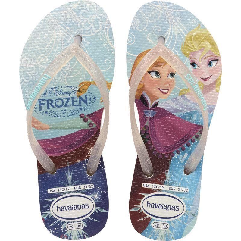 c8c0c0fa05 Havaianas Princess Brazil Frozen White Flip Flops Sandals Kids Girls ...