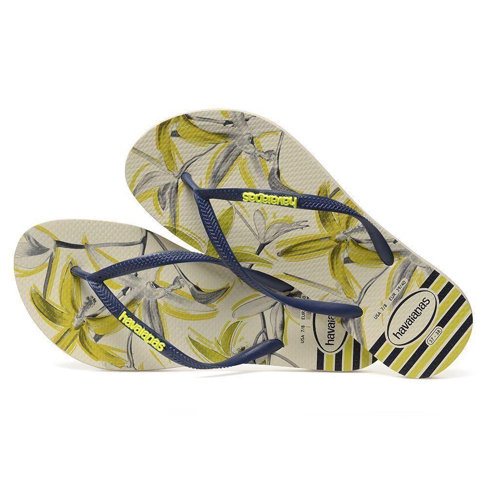 1afe1cd7b2fd36 Havaianas Women`s Flip Flops Slim Tropical Beige Blue Sandals Any ...