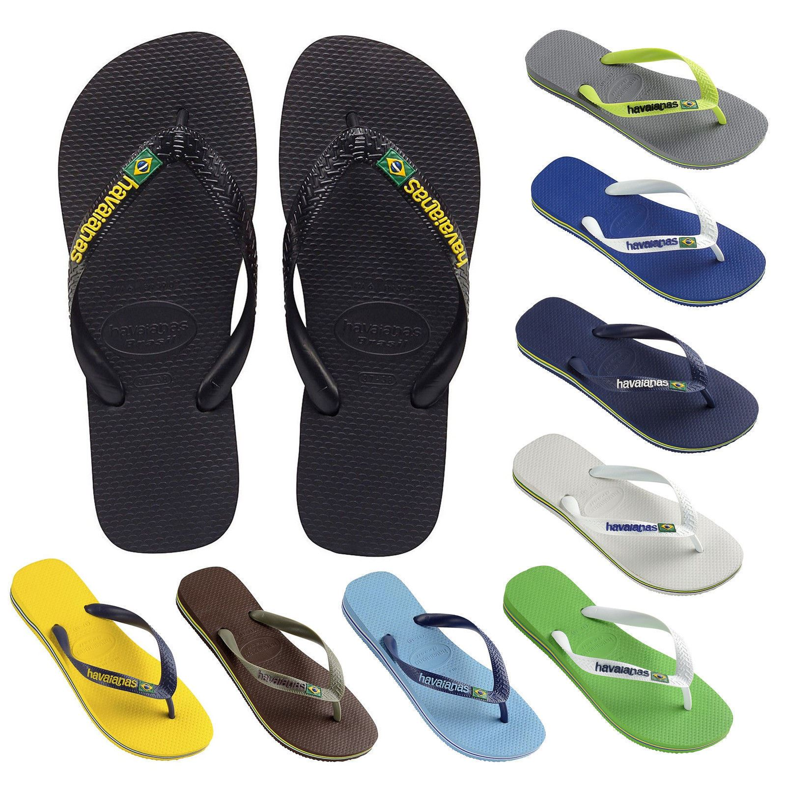748fefa4014ae3 Havaianas Brazil Logo Men s Flip Flops Sandals All sizes Colors