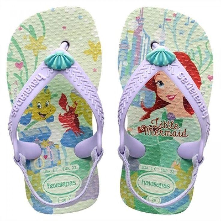 Havaianas Kids Baby Princess Little Mermaid Ariel Flip Flops Sandals All Sizes
