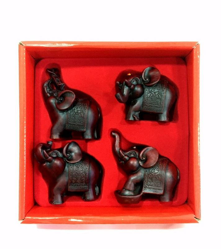 New Set of 4 Chinese Red Elephant Resin 6cm Figure Statue