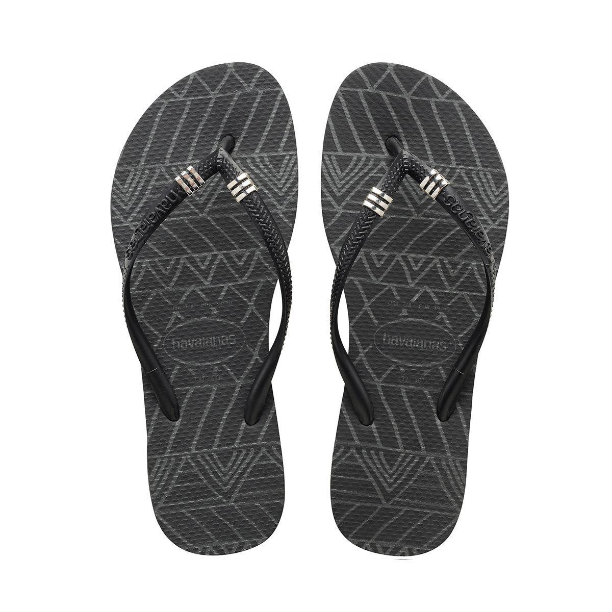 7ed778620f1d52 Details about Havaianas Slim Tribal Black Women Flip Flops Sandals All Size