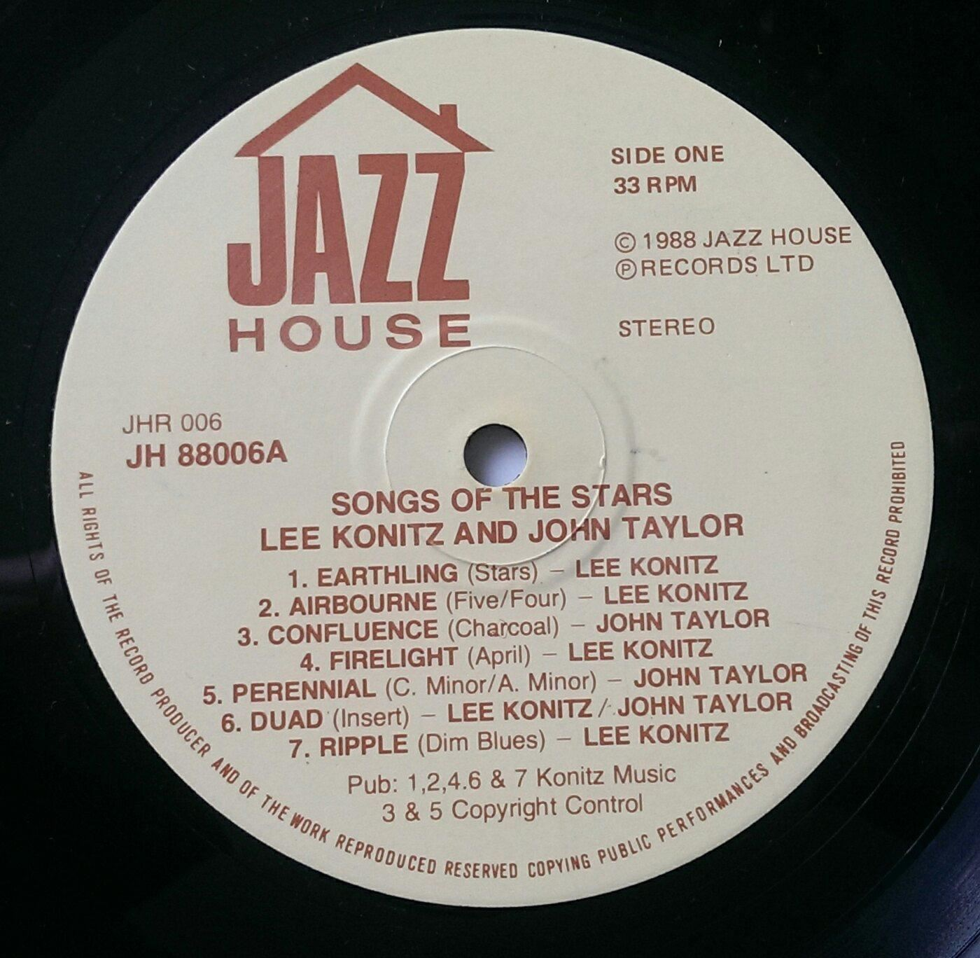 Songs of the stars no sleeve uk 1988 lee konitz ebay for Songs from 1988 uk