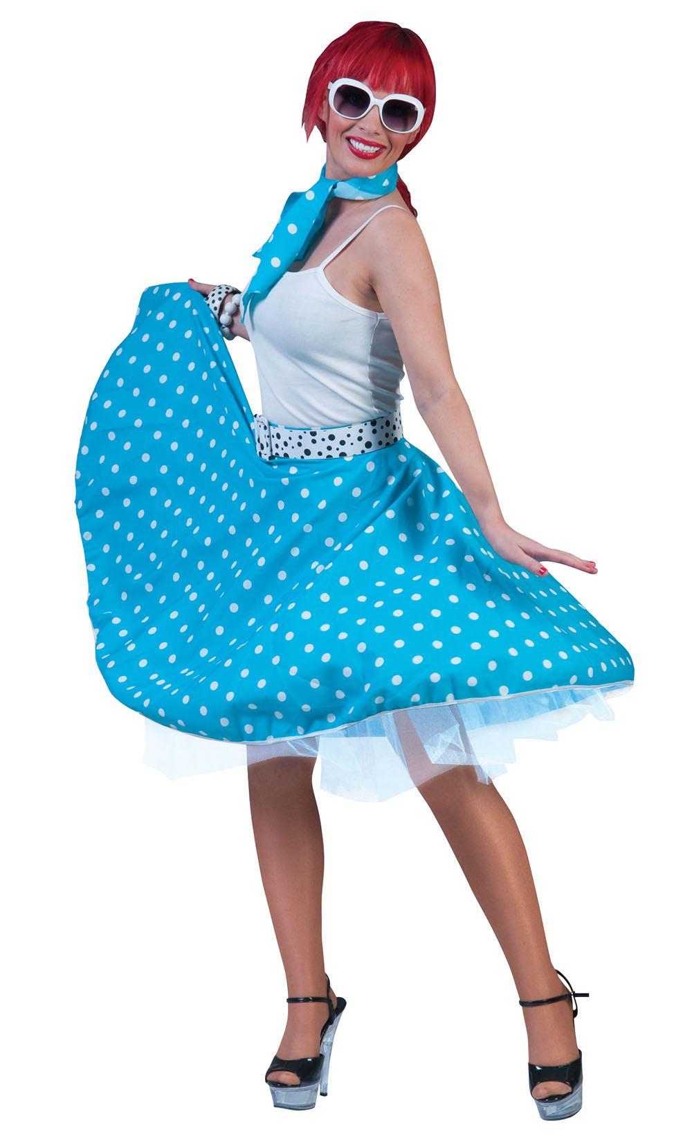 donna gonna a pois /& Sciarpa Rock /& Roll Costume Anni 50 JIVE Costume