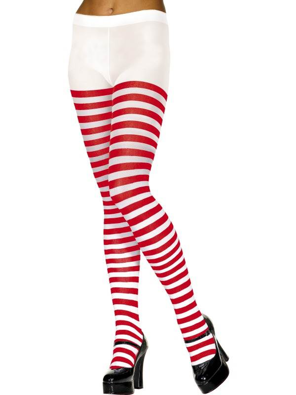 Red and White Fever Women/'s Opaque Striped Tights One Size,5020570427361
