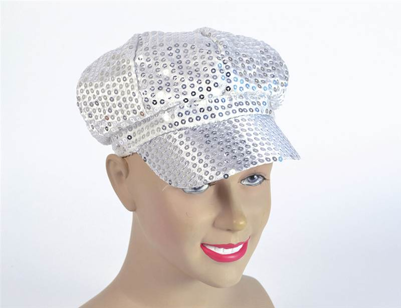 Paillettes Cappello. Anni'80 Stile Cappello D'argento, Costume Accessorio-mostra Il Titolo Originale
