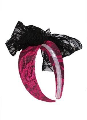 1980s Neon Pizzo Fascia Per Capelli Rosa Costume Accessorio- Ultimi Design Diversificati