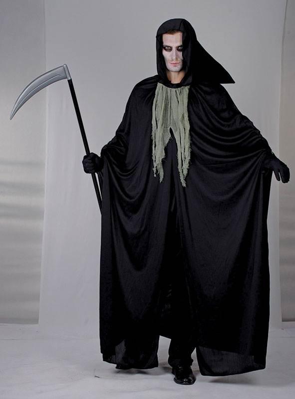 Grim Reaper Hidden Face with Scythe Gents Fancy Dress Costume