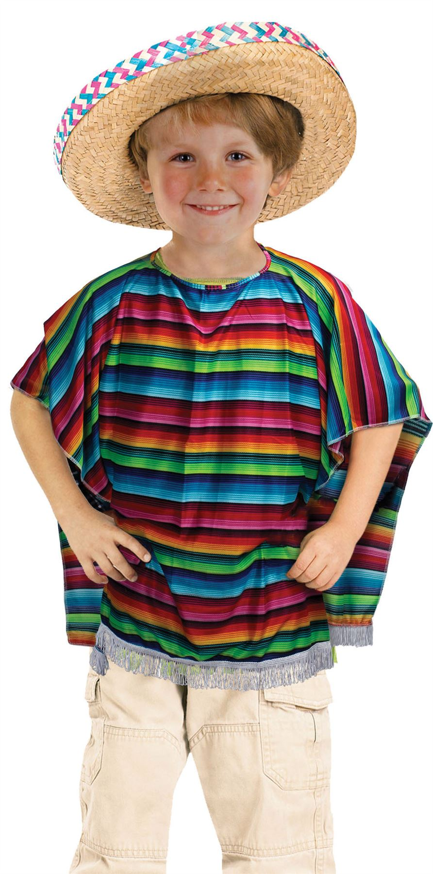 Details about Mexican Poncho, Childrens Fancy Dress Costume,  Kids/Boys/Girls/Unisex AU