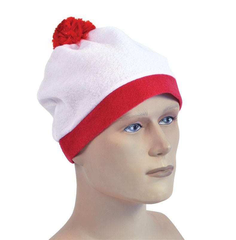 Bobble Cappello. Bianco + Rosso Pom Pom. Costume Accessorio-mostra Il Titolo Originale Rinfrescante E Benefico Per Gli Occhi
