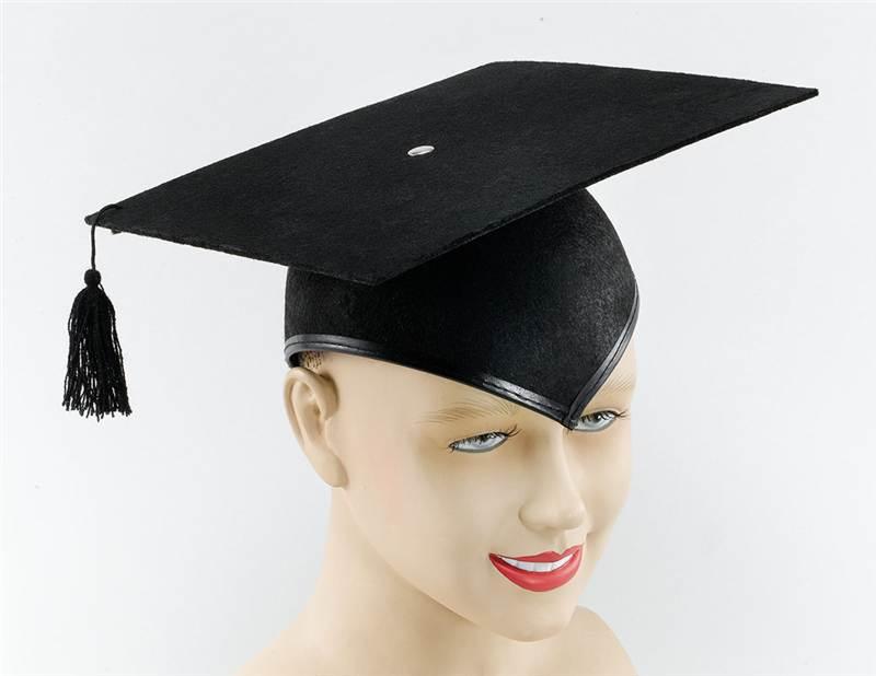 MEN/'S WOMEN/'S SCHOOL TEACHER BLACK MORTAR FELT BOARD HAT FANCY DRESS ONE SIZE
