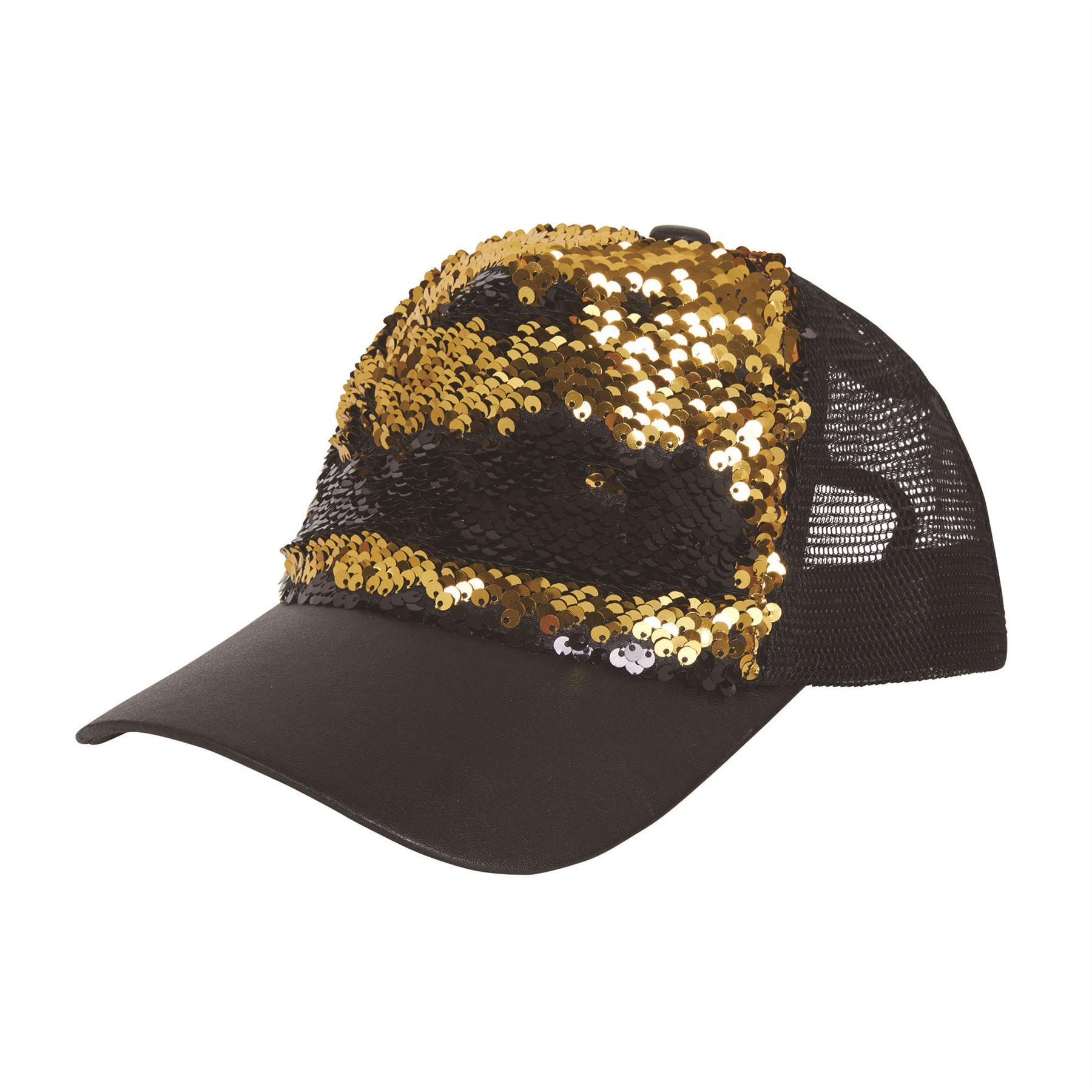 dbc3f4c99a4 Sequin Cap Reversible Black Gold Hat 60s 70s Hippie Fancy Dress