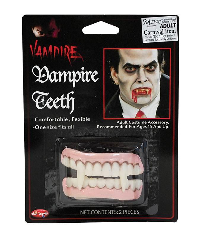 False Teeth And Fangs Mens Ladies Fancy Dress Vampire Teeth /& Fang Set