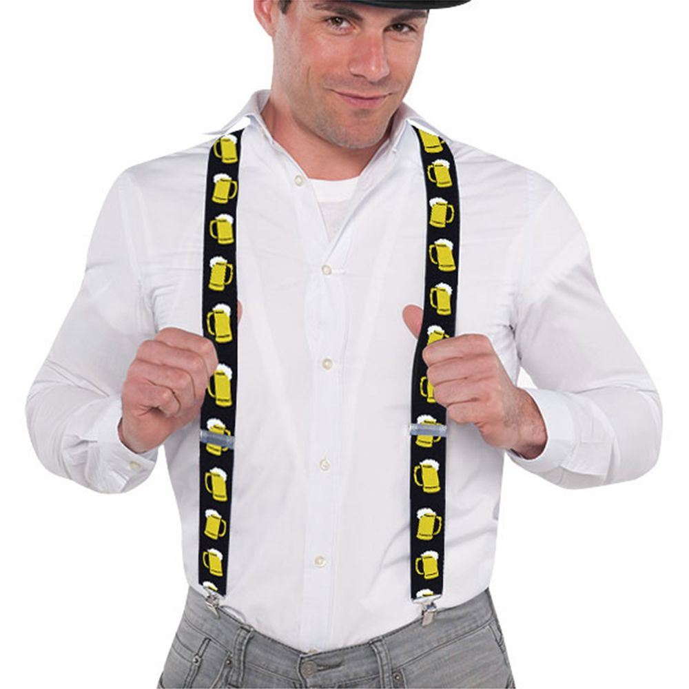 Mens Beer Mug Novelty Oktoberfest Stag Do Braces Fancy Dress Costume Accessory
