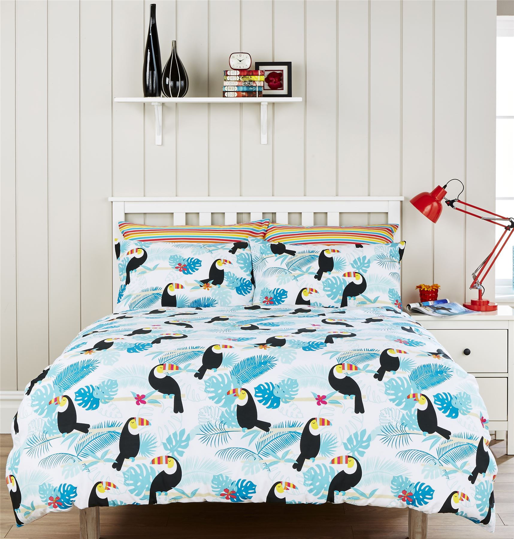 Hummingbird Bed Linen Part - 36: Humming Bird Toucan Multi Reversible Duvet Cover Set