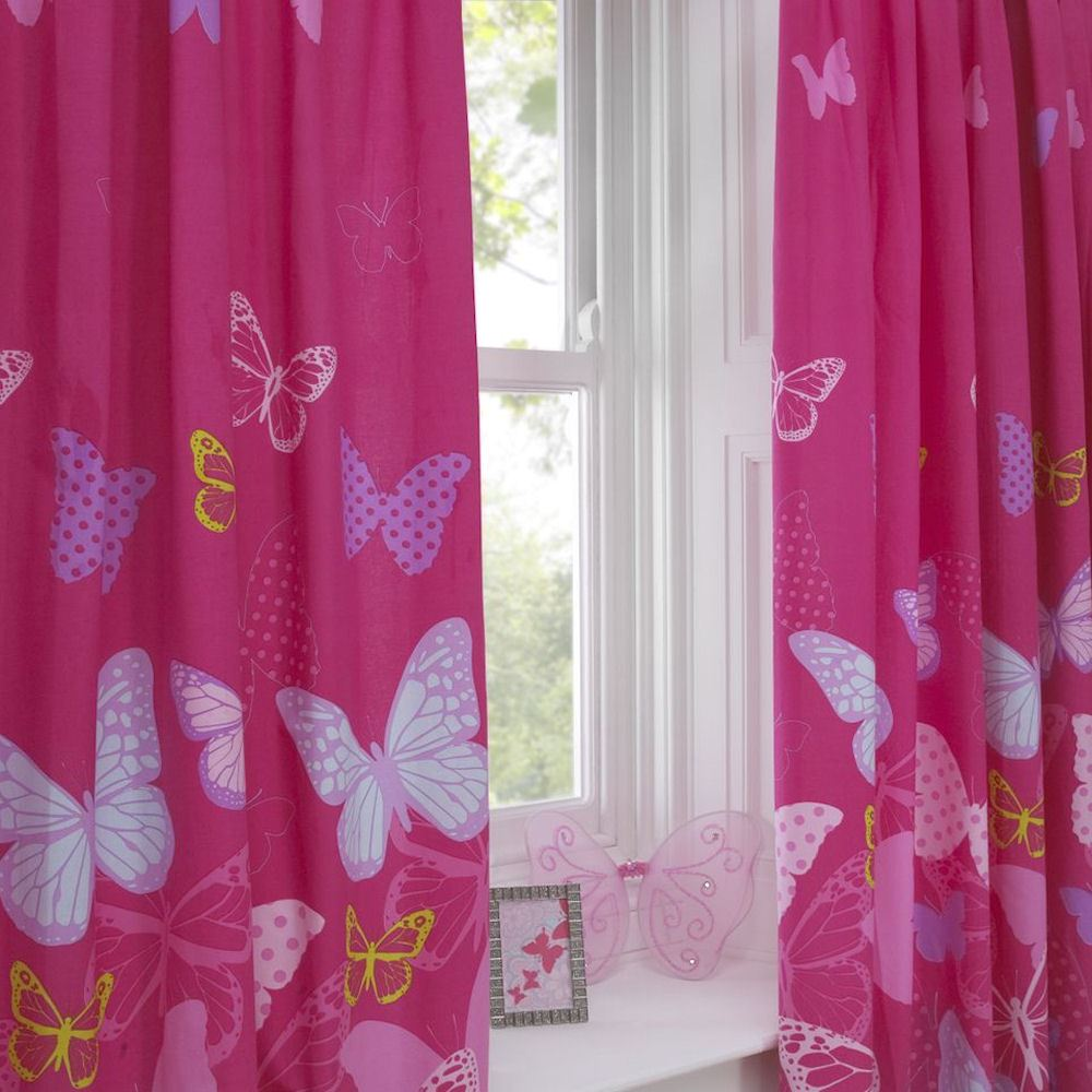 kids girls light panel abstract curtains curtain pink colour pin inch nerina ruffle single window pattern