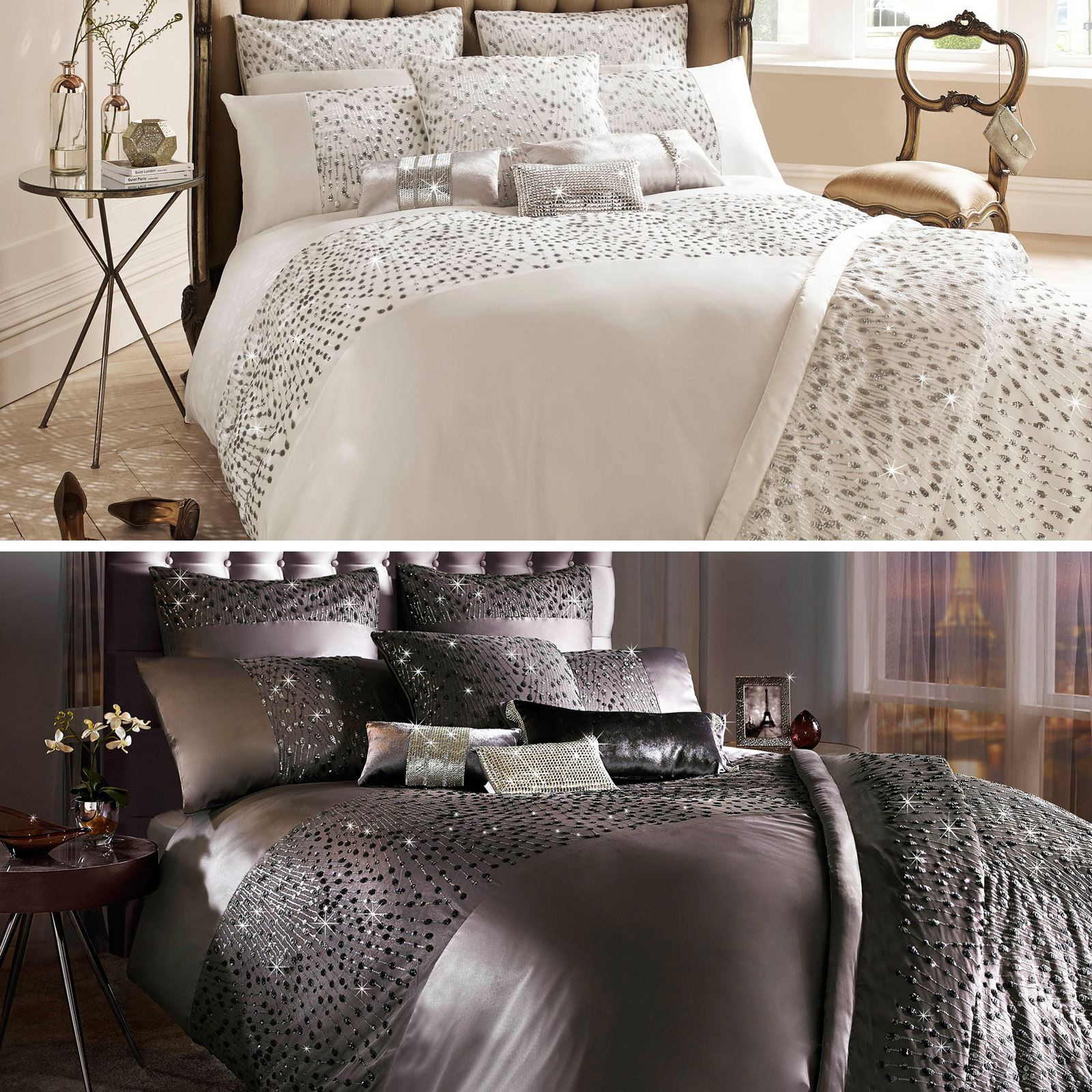 Kylie Minogue At Home Eva Luxury Sequin Satin Cotton Duvet