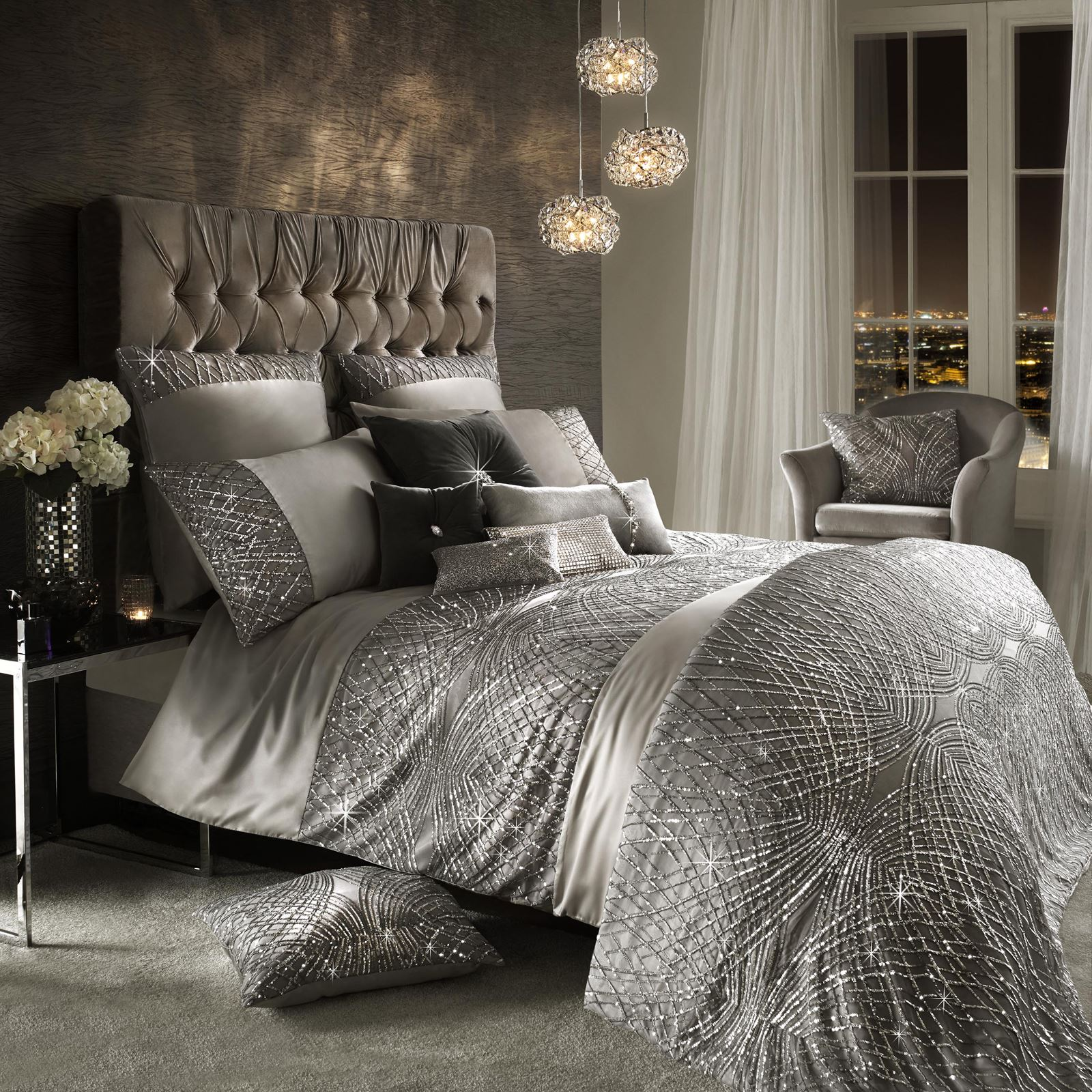 Kylie Minogue Esta Silver Duvet Quilt Cover Bedding