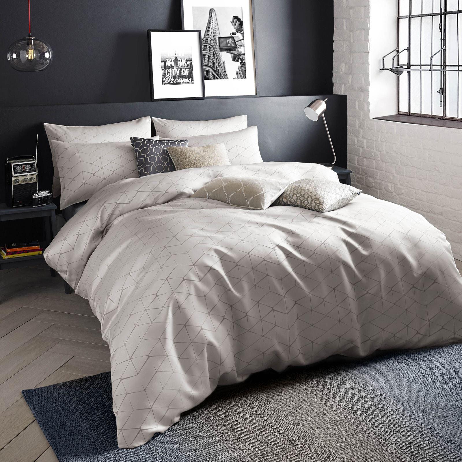 Blueprint danuka geometric charcoal grey linen beige duvet cover blueprint danuka geometric charcoal grey linen beige duvet malvernweather Images