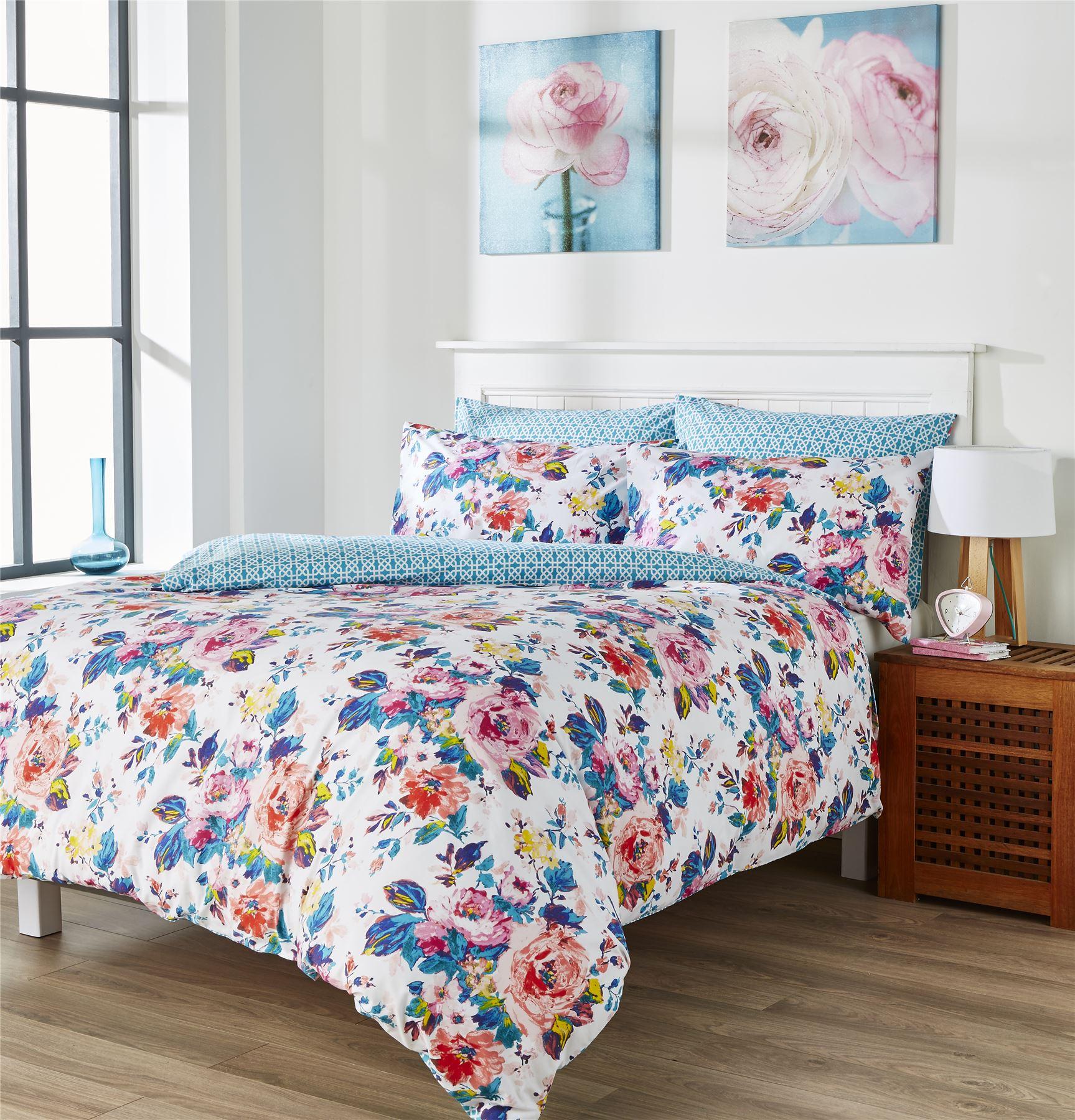 Kingsley Harper Coral Floral Blue White Reversible Duvet Quilt Cover