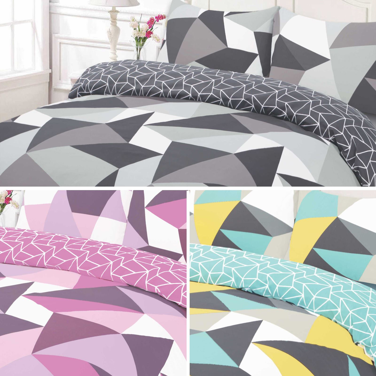 shapes geometric pattern duvet cover bedding set  ebay - a bold and striking geometric design with a modern twist will add acontemporary feel to any bedroom this powerful duvet set combines thesoftness of