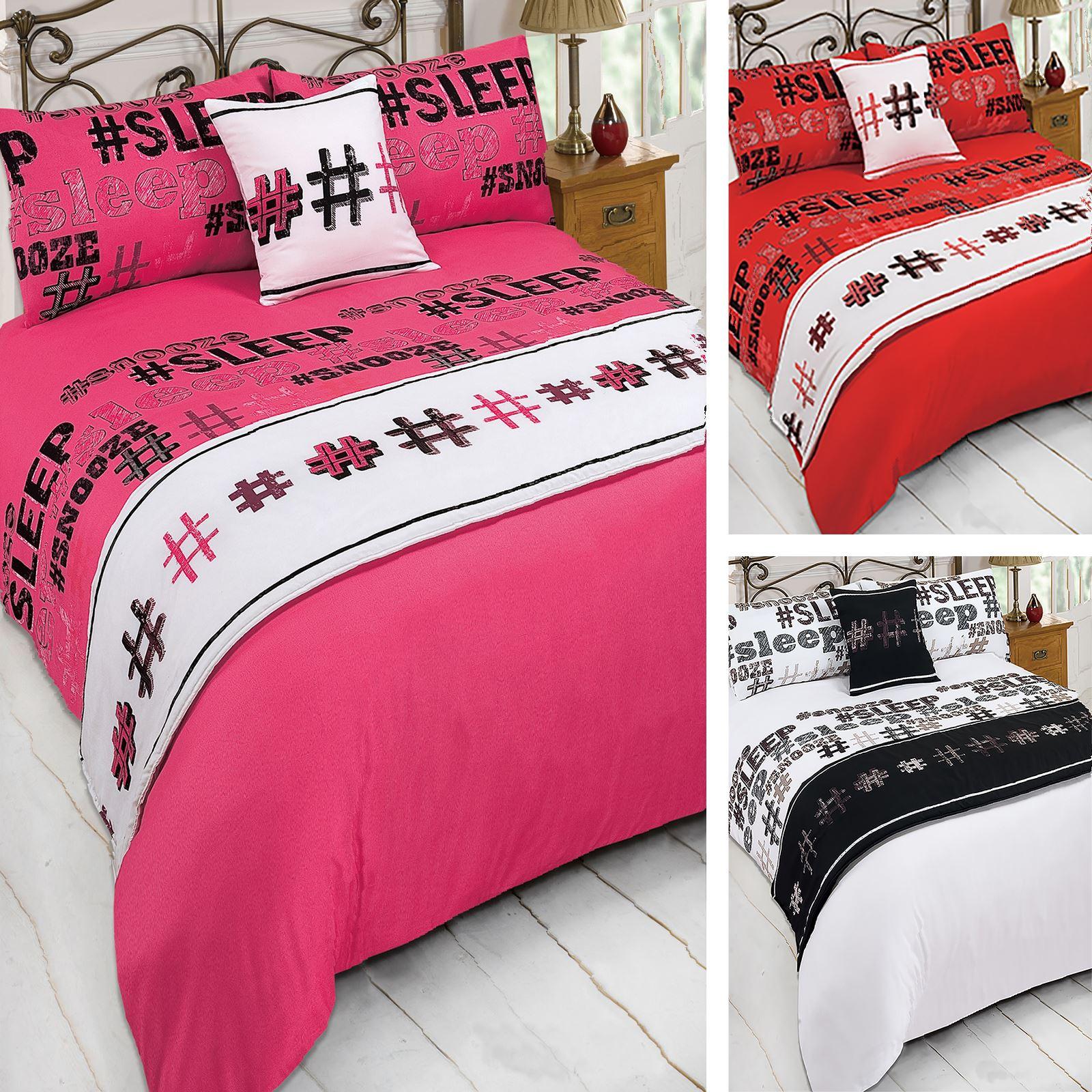 Dreamscene Hashtag Bed In A Bag Duvet Cover Bedding Set Pink White
