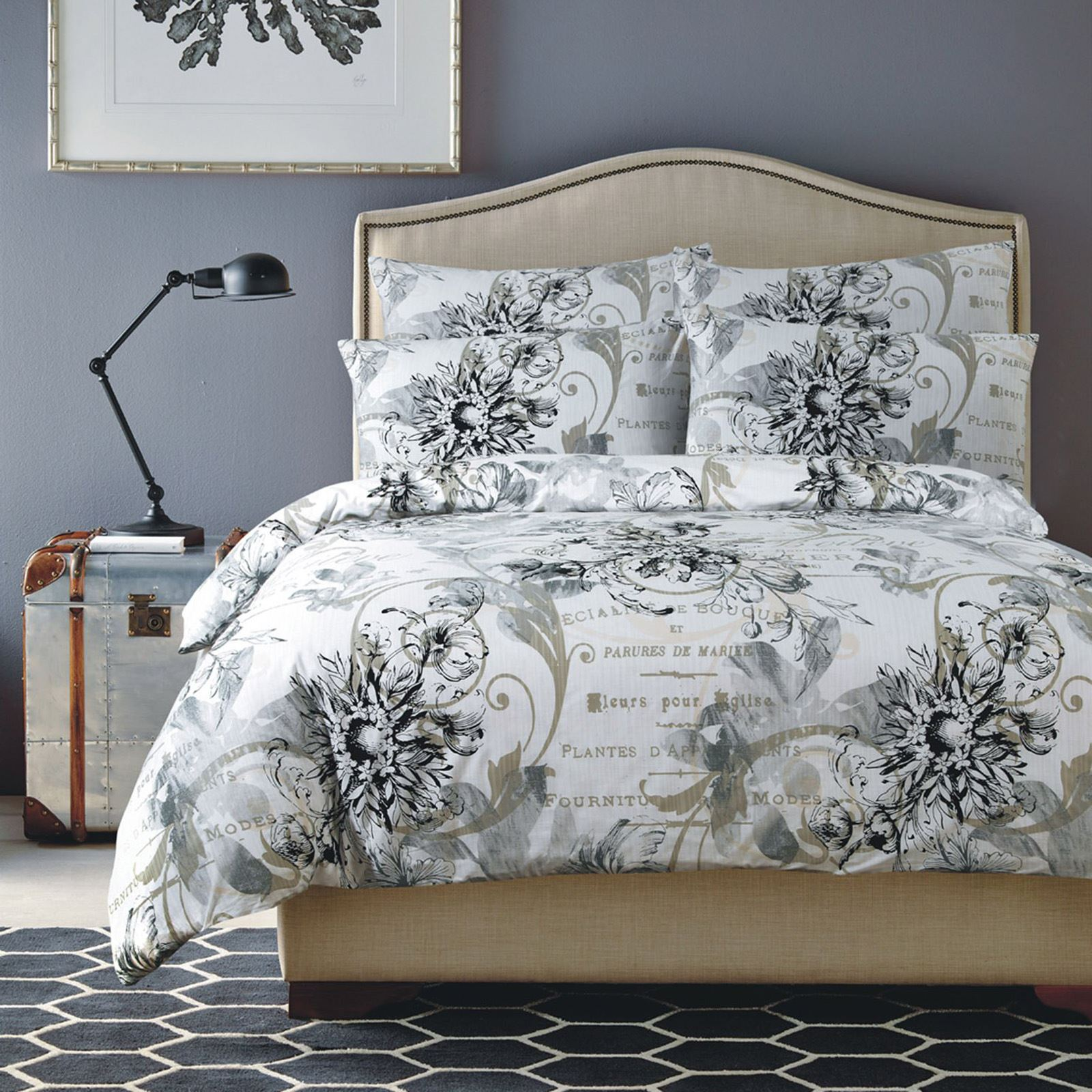 Shabby chic grey and black floral pattern with french phrases contemporary bed linens in refreshing colour palettes to update your home decor