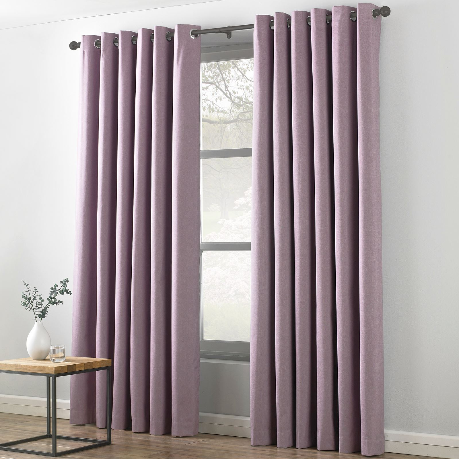 Textile Warehouse Indra Linen Look Blackout Textured Eyelet Ring Top Curtains