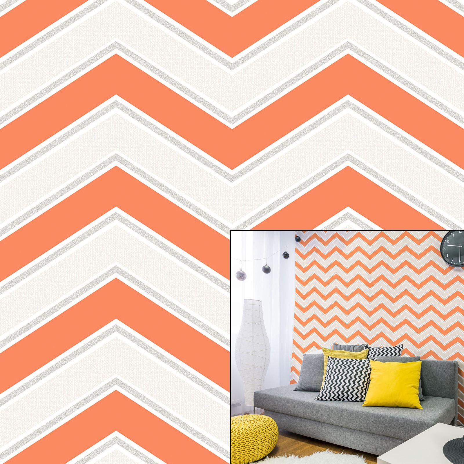 Coloroll Chevron Orange Grey White Geometric Zig Zag Glitter Feature