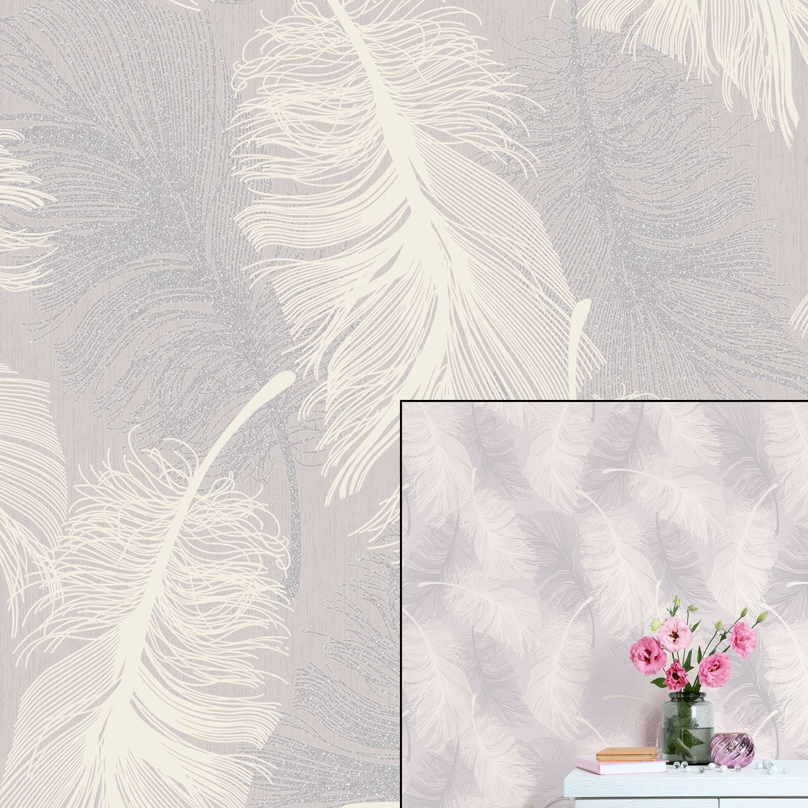 Coloroll Feather Lilac White Mauve Silver Glitter Feature HD Wallpapers Download Free Images Wallpaper [1000image.com]