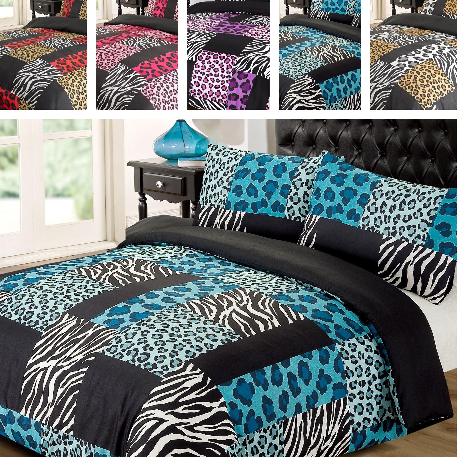 Kruger Leopard Zebra Animal Print Black White Duvet Quilt Cover