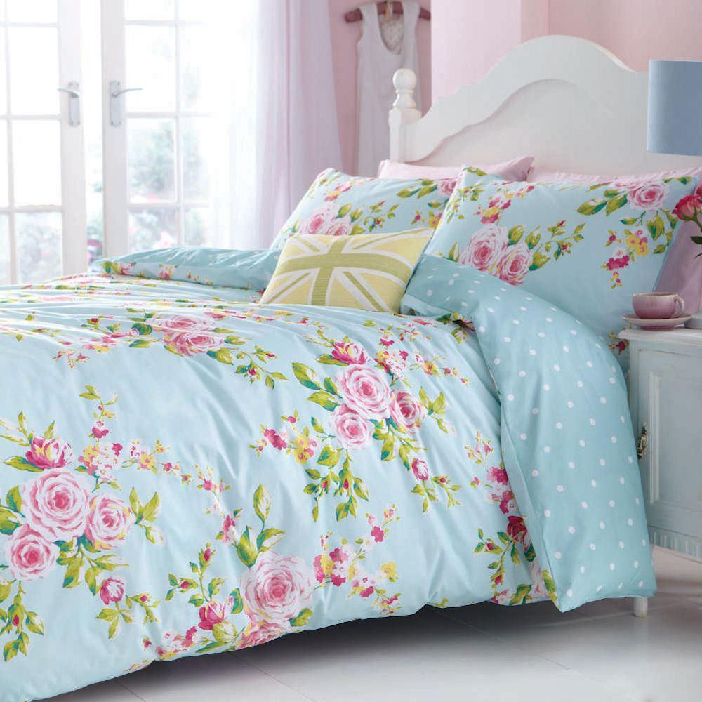 Wonderful Canterbury Floral Pink Blue White Polka Dot Vintage Duvet Cover  ON17