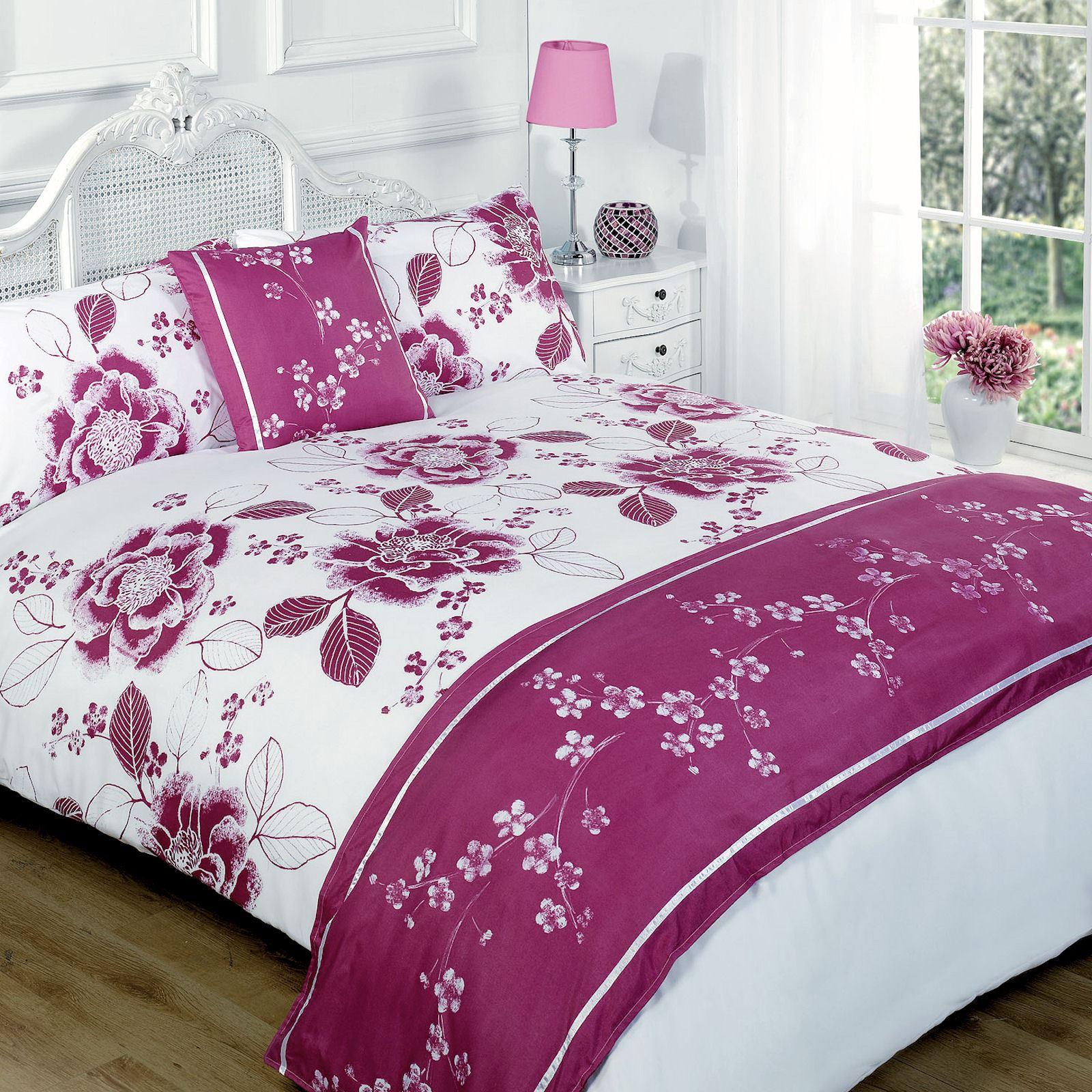 Bloom Purple Floral Dark Pink Duvet Quilt Set Bed in a Bag Cushion