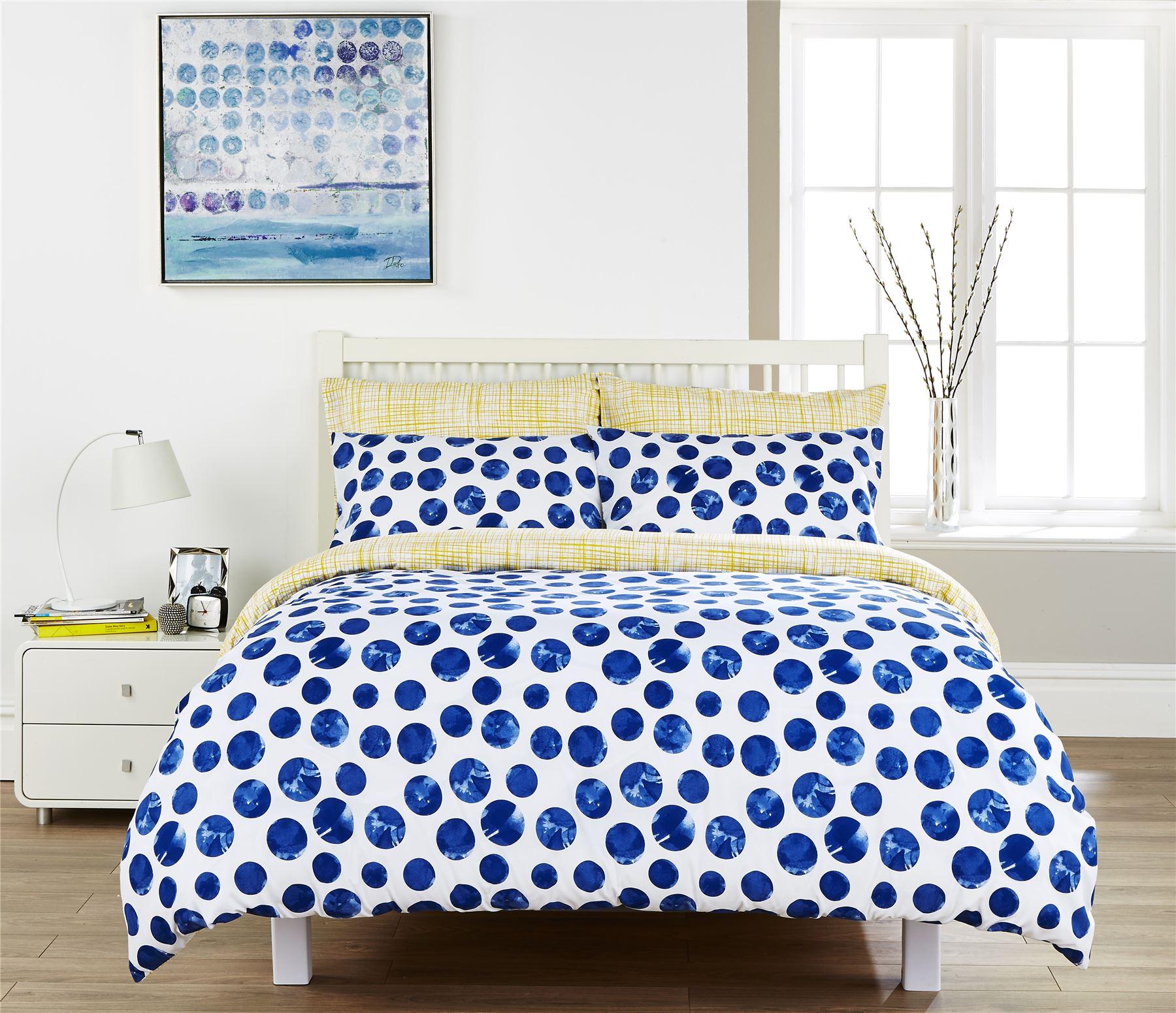 MODERN Reversible NAVY BLUE and WHITE 300tc Cotton BEDDING DUVET COVER SET