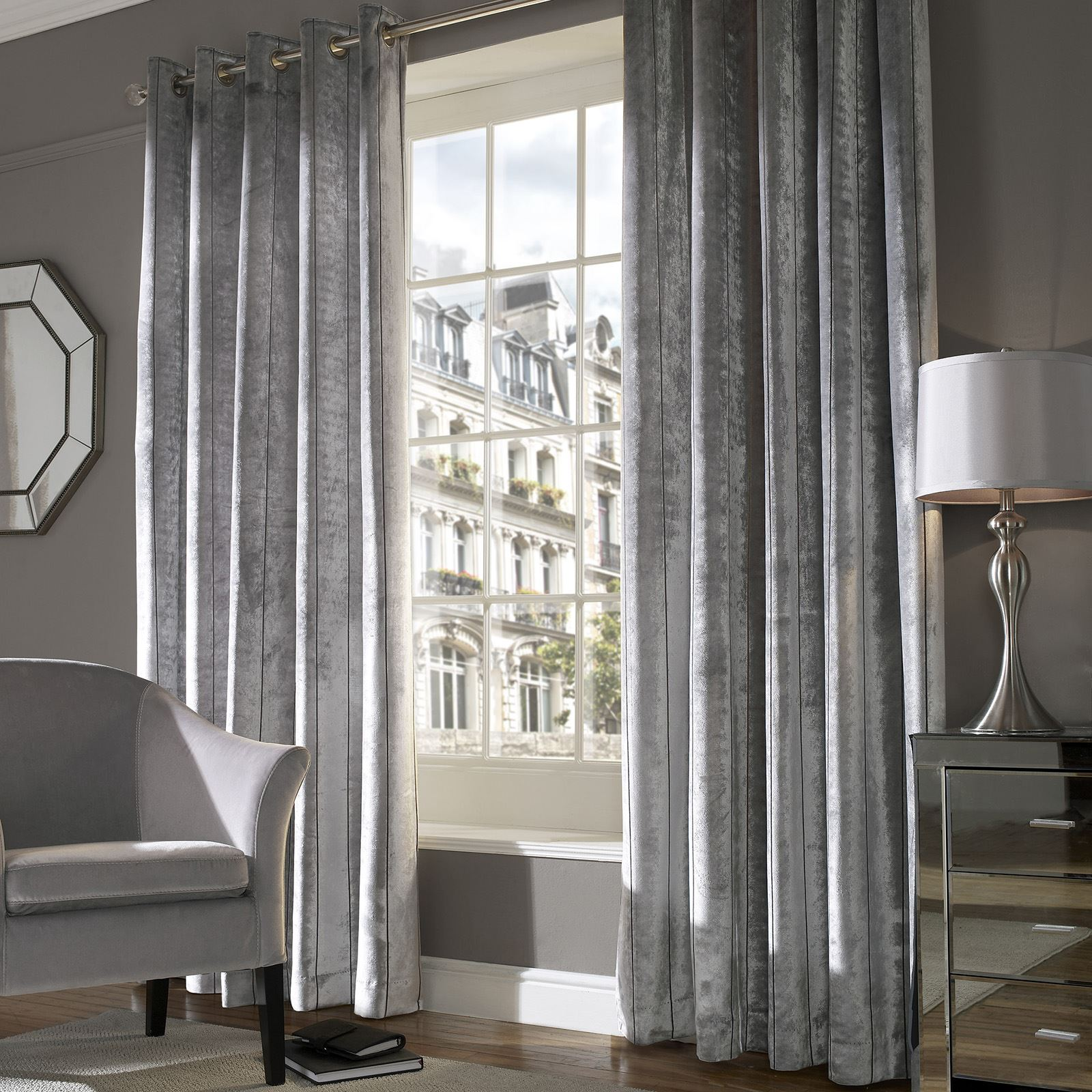 Light Shimmers Across These Beautiful Cut Velvet Curtains, Adding An  Essence Of Pure Luxury To Your Room. The Style Includes A Decorative Stripe  To Add ...