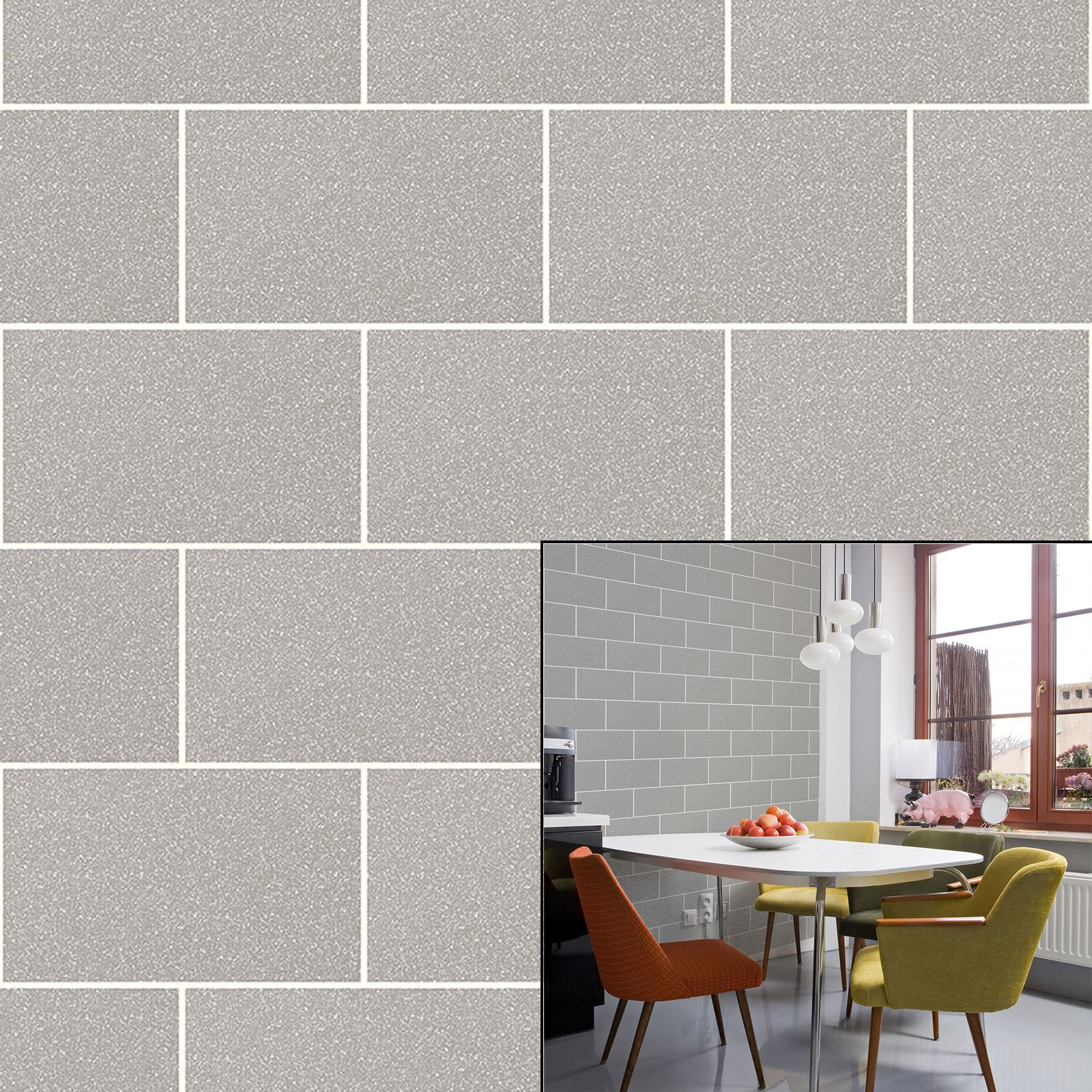 Crown London Tile Grey Mist Urban Brick Effect Glitter Feature ...