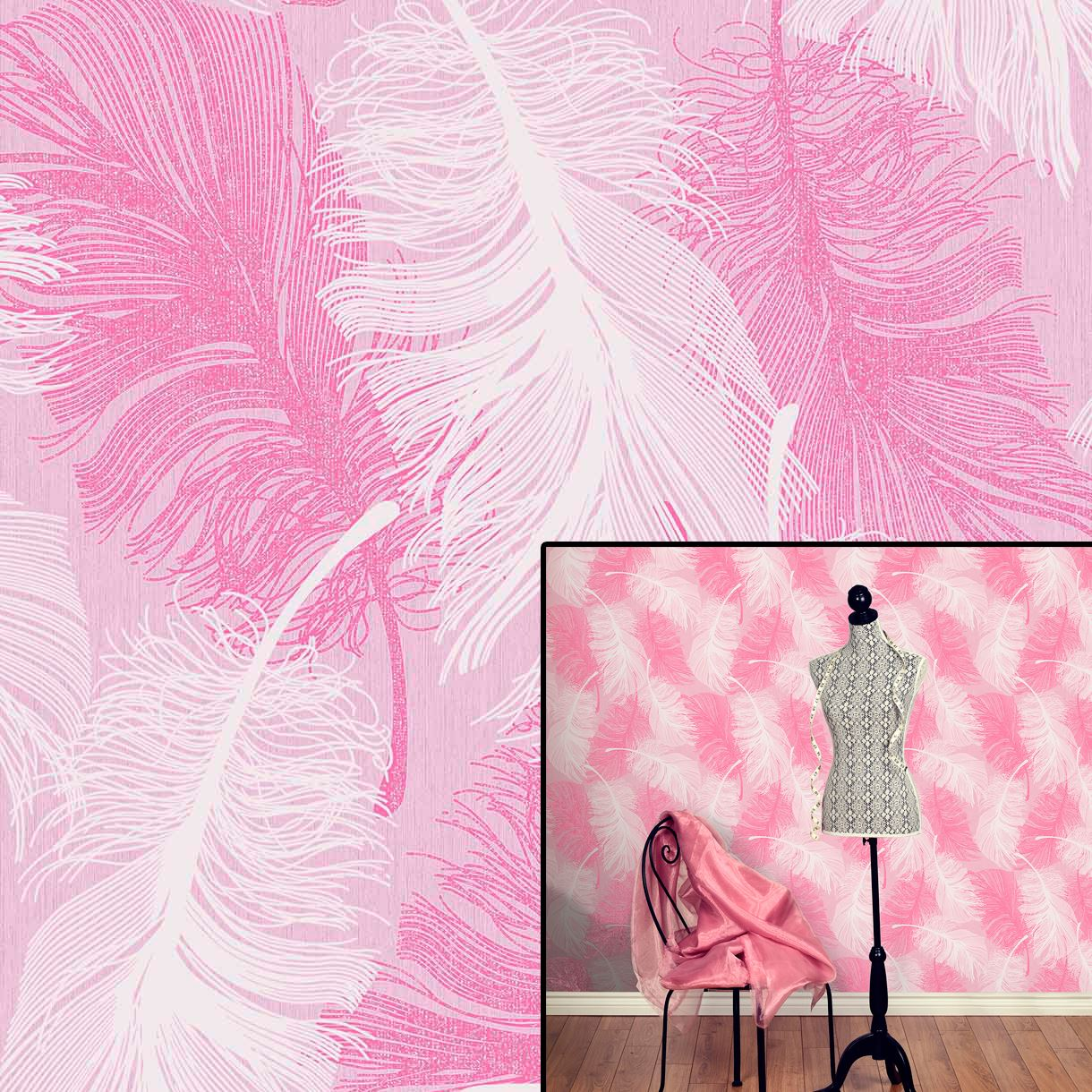 Coloroll Powder Pink Feather Quill Pink White Silver