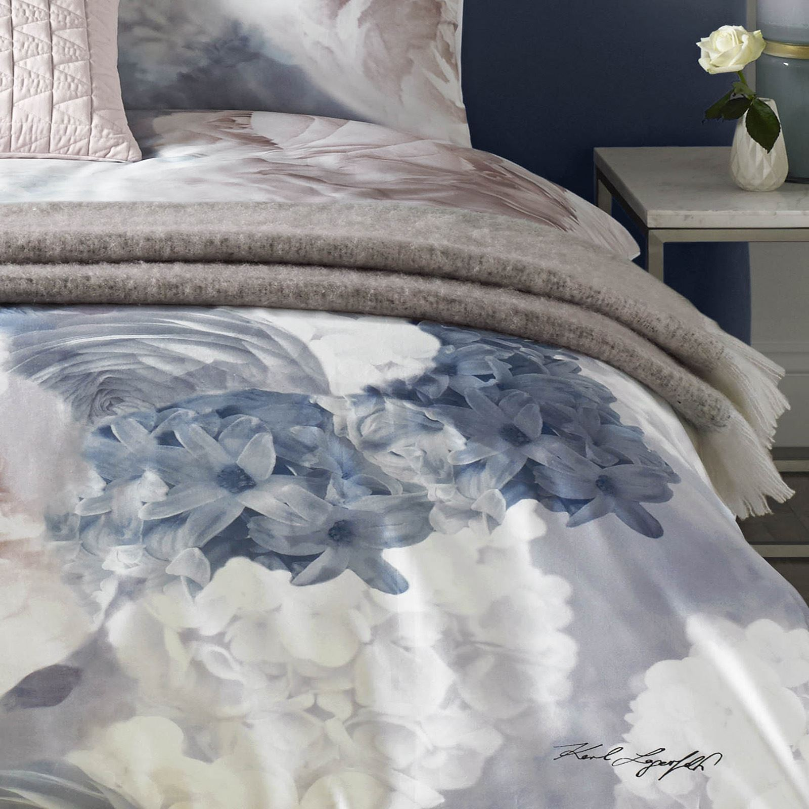 Karl Lagerfeld Flourish Blue Pink Nude Floral Flowers Duvet Cover